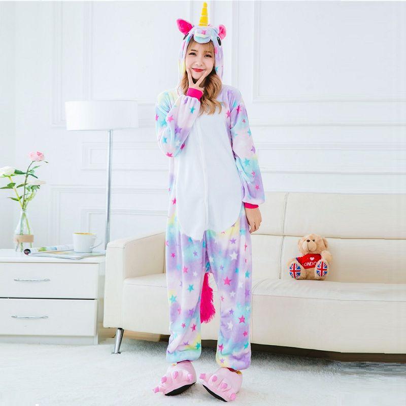 Cute Cartoon Animal Colored Unicorn Pajamas Flannel Hooded Long Sleeve Adult Unicornio Sleepwear For Women onsie set pyjama p102