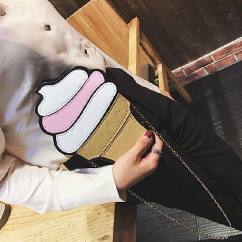 Cute Cartoon Women Ice Cream Cupcake Mini PU Leather Bags Small Chain Clutch Crossbody <font><b>Girl</b></font> Shoulder Messenger Bag Dropshipping
