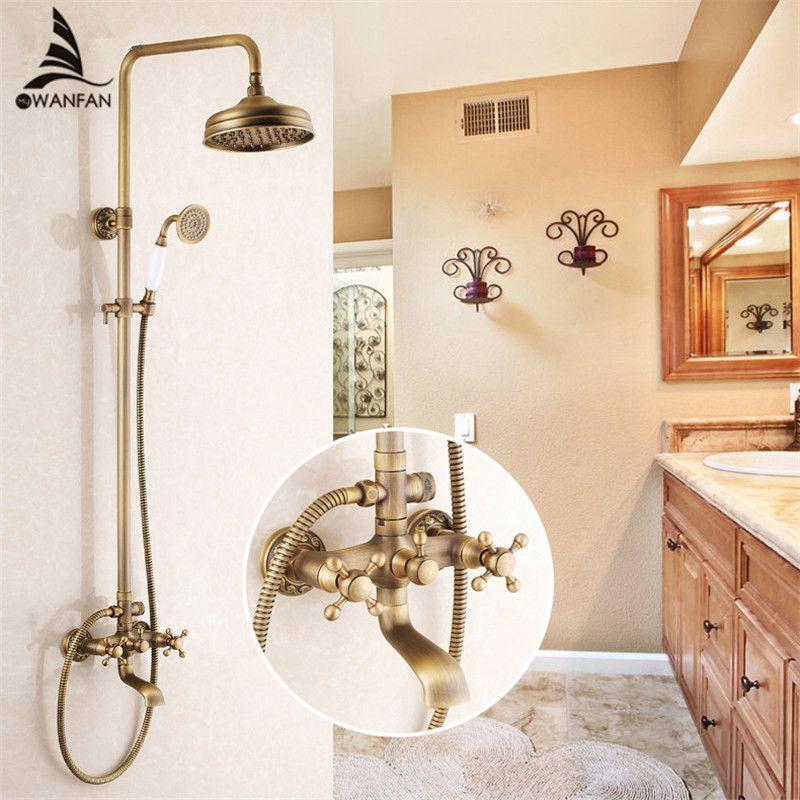 Dusche Armaturen Antike Messing Dusche Set Wasserhahn Badewanne Mischbatterie Handheld Dusche Wand Montiert Regen Bad Kran Dusche WF-6821