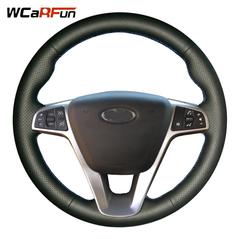 WCaRFun DIY Black Leather Hand-stitched Car Steering Wheel Cover for Lada Vesta 2015 2016 2017