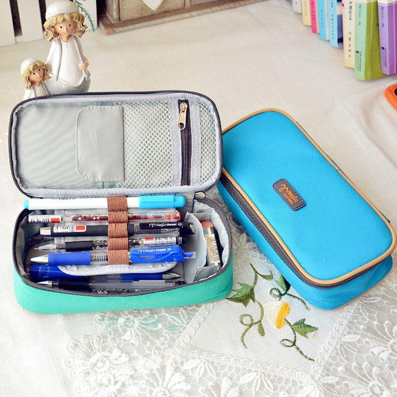 Corée multifonction école porte-crayon et sacs grande capacité toile stylo rideau boîte pour garçon fille enfants cadeau papeterie fournitures