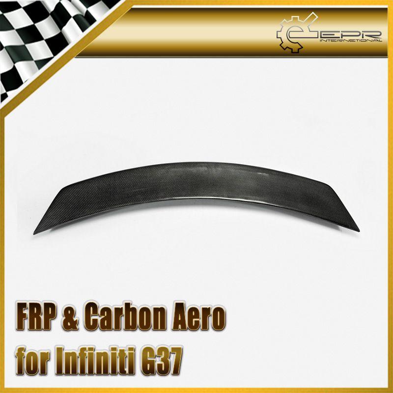 Car Styling For Infiniti G37 LB Style Carbon Fiber Rear Spoiler Glossy Fibre Trunk Wing Lip Auto Bonnet Body Kit Racing Trim