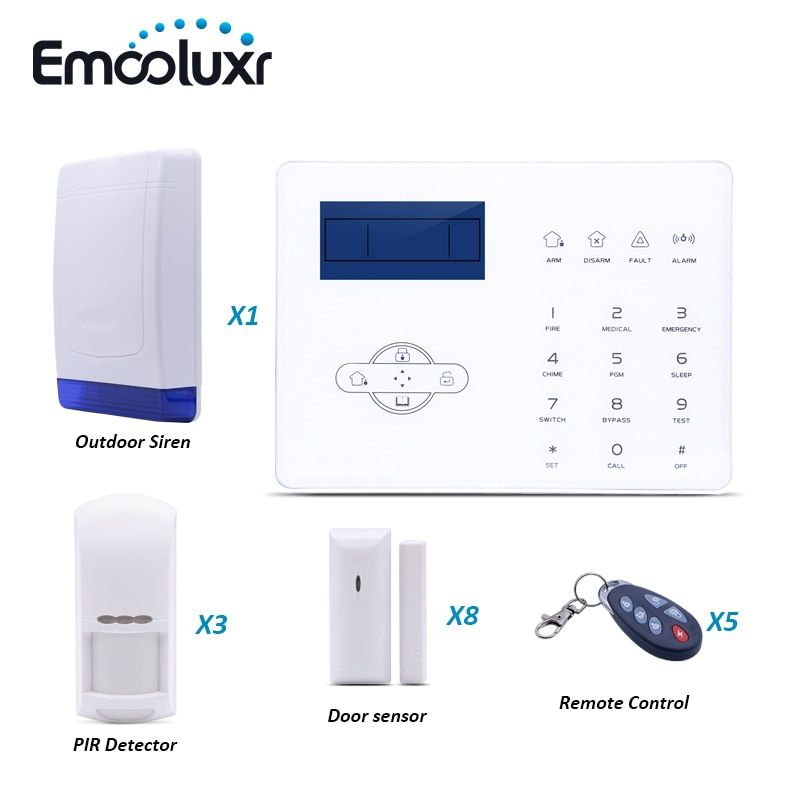 French Voice GSM PSTN Alarm System ST-IIIB with Pet Friendly PIR Inrared Sensor and Outdoor Waterproof Strobe Siren