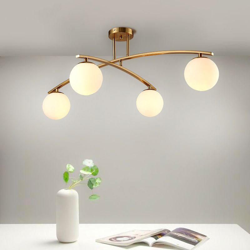 LED Post-modern Simple Nordic Living Room Light Restaurant lamps Bedroom Ceiling lighting Iron Crafts Glass Ceiling Lights