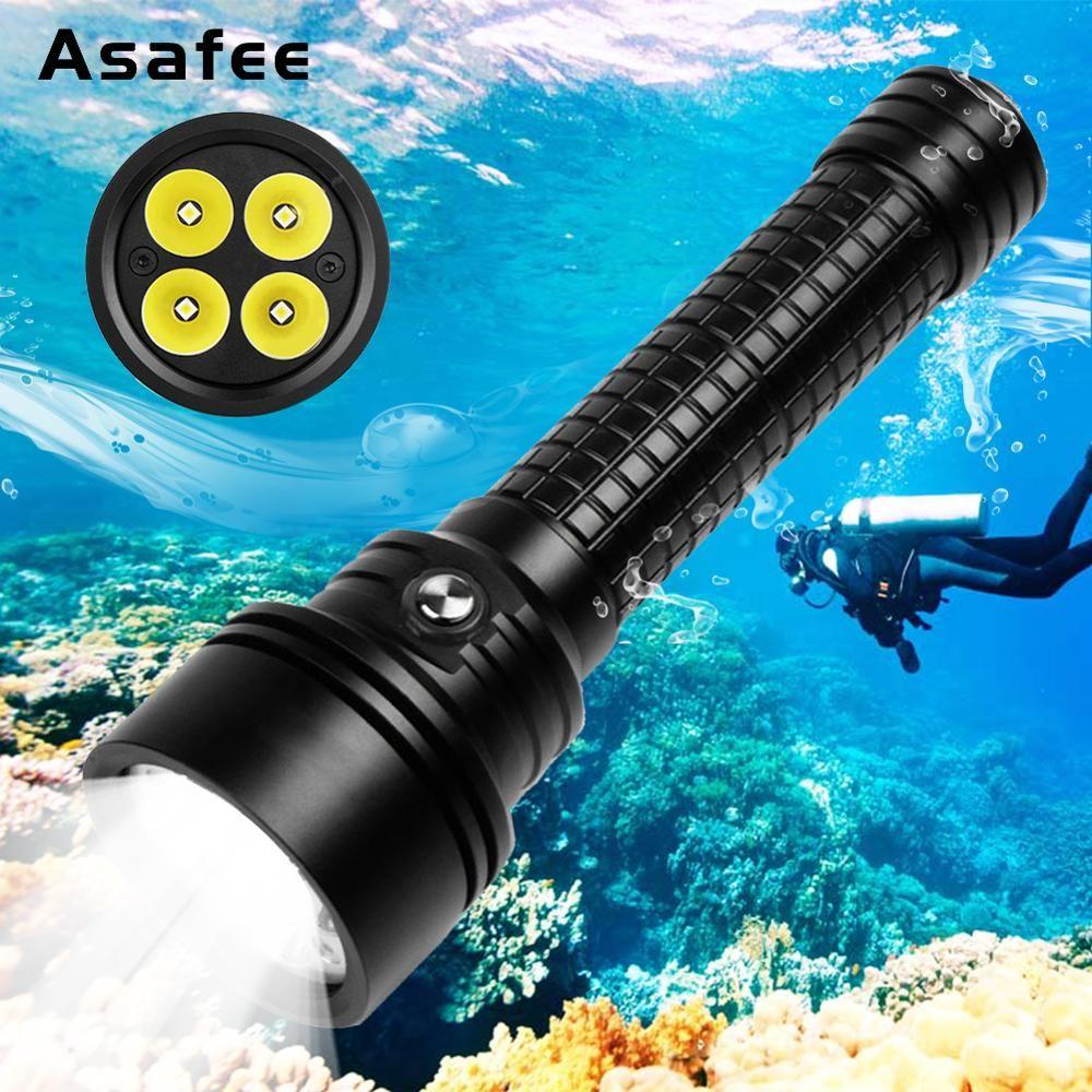 Asafee DIV15S Leistungsstarke Tauchen Licht Taschenlampe 3800 Lumen 4 stücke Cree XPL-V3 LED Magnetische Schalter Professionelle Tauchen Taschenlampe