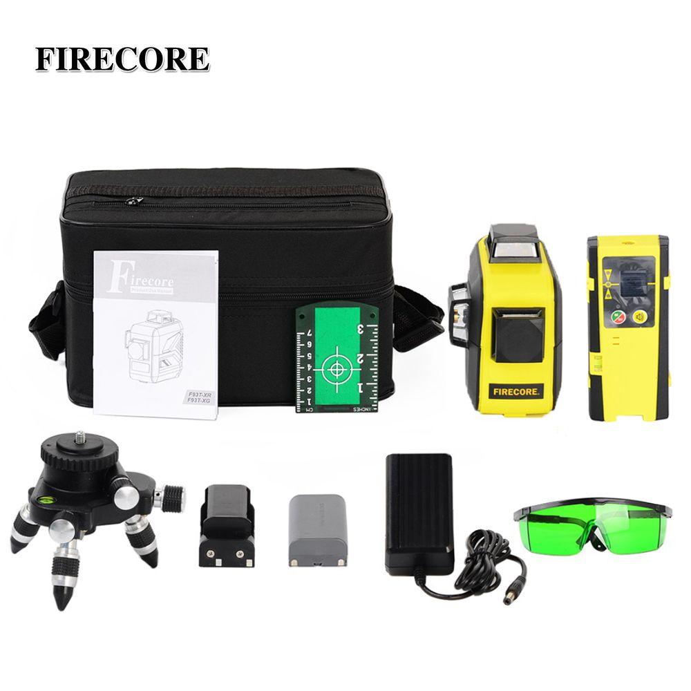 FIRECORE 12 lignes 3D F93T-XR F93T-XG rouge/vert niveau Laser + récepteur/l-support/3 M trépied