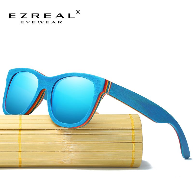 EZREAL Skateboard Wooden Sunglasses Blue Frame With Coating Mirrored Bamboo Sunglasses UV 400 Protection Lenses in Wooden Box