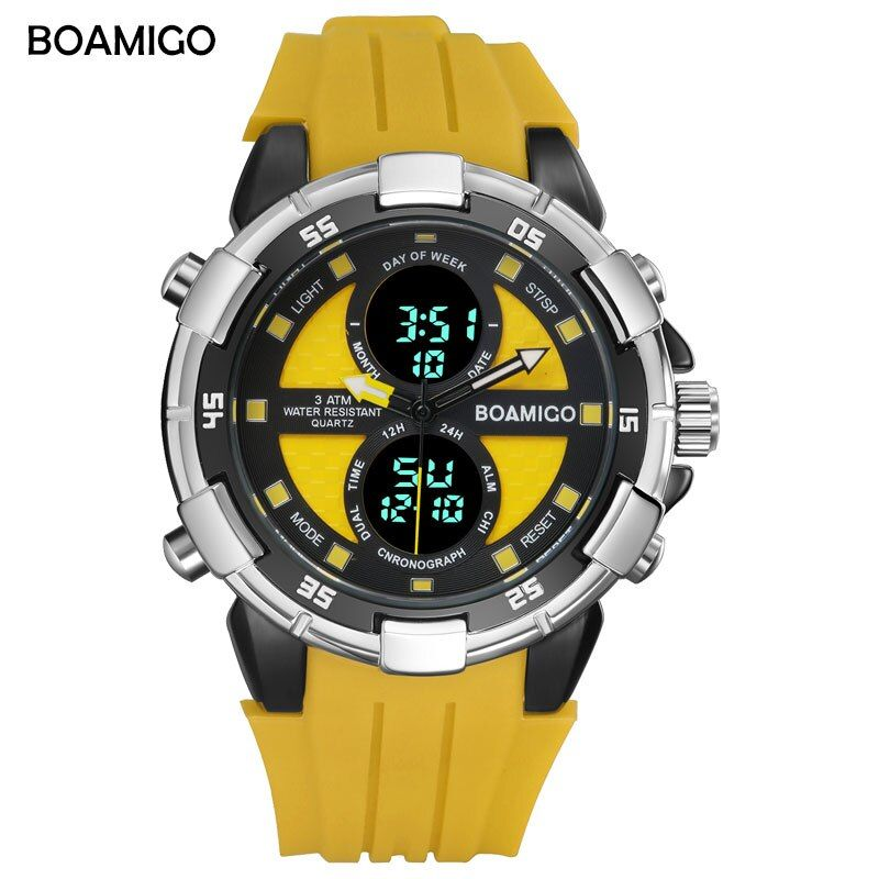 BOAMIGO Men Watches Sports Digital Watches LED Display Rubber Strap Wristwatches 30m Water Resistant Date Week Yellow Gift Clock