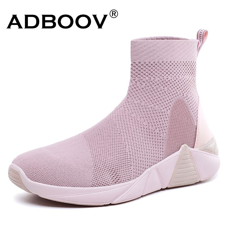 ADBOOV New Breathable Ankle Boots Women Summer Sneakers Flat Platform Shoes Woman Sock Shoes