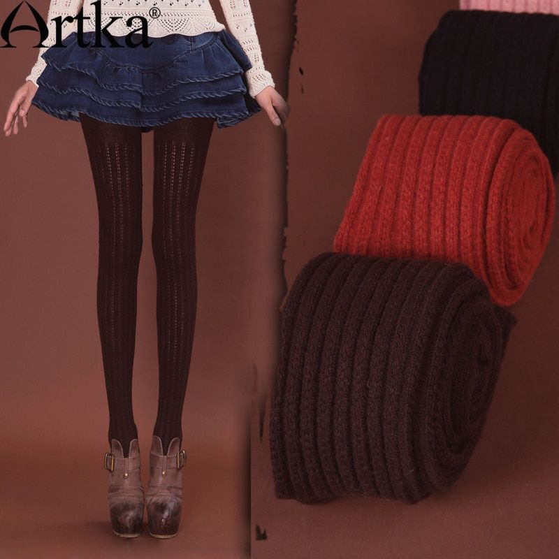 Artka Women's Autumn Winter Retro Vintage Solid Color Slim Fit All-Match Cable Knitted Soft  Wool Hosiery PM17033Q