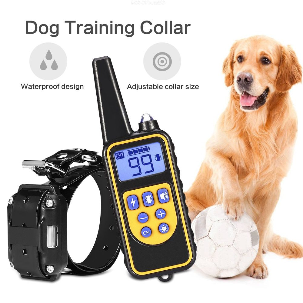 800m Electric Dog Training Collar Pet Remote Control Waterproof Rechargeable with LCD Display for All Size Bark-stop Collars