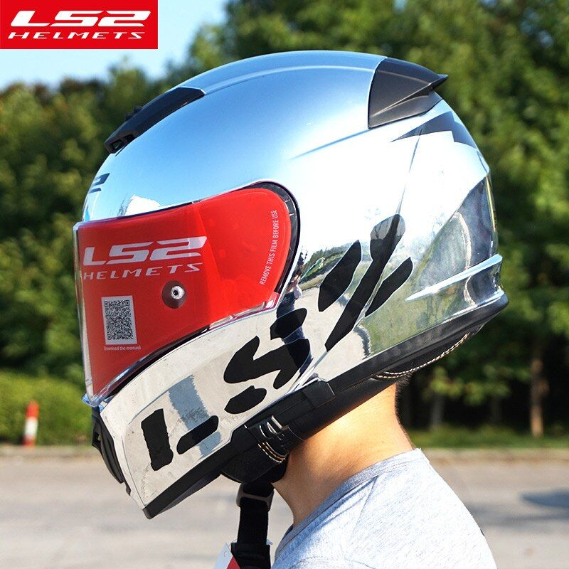 Original LS2 FF390 Breaker Split Motorrad Helme mit inneren sonne schild Chrome Volle gesicht racing motorrad helme S M L XL XXL