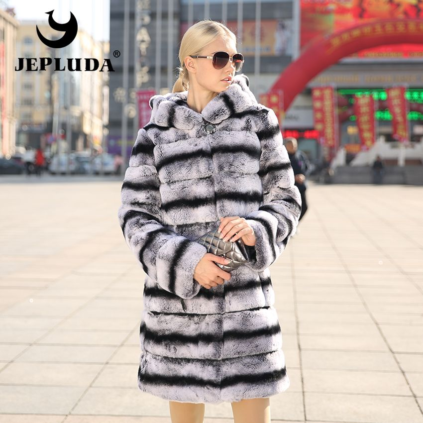 JEPLUDA New Women's Real Rex Rabbit Fur Coat Natural Fur Winter Jacket Women with hood Outerwear with Genuine Fur Real Fur coat