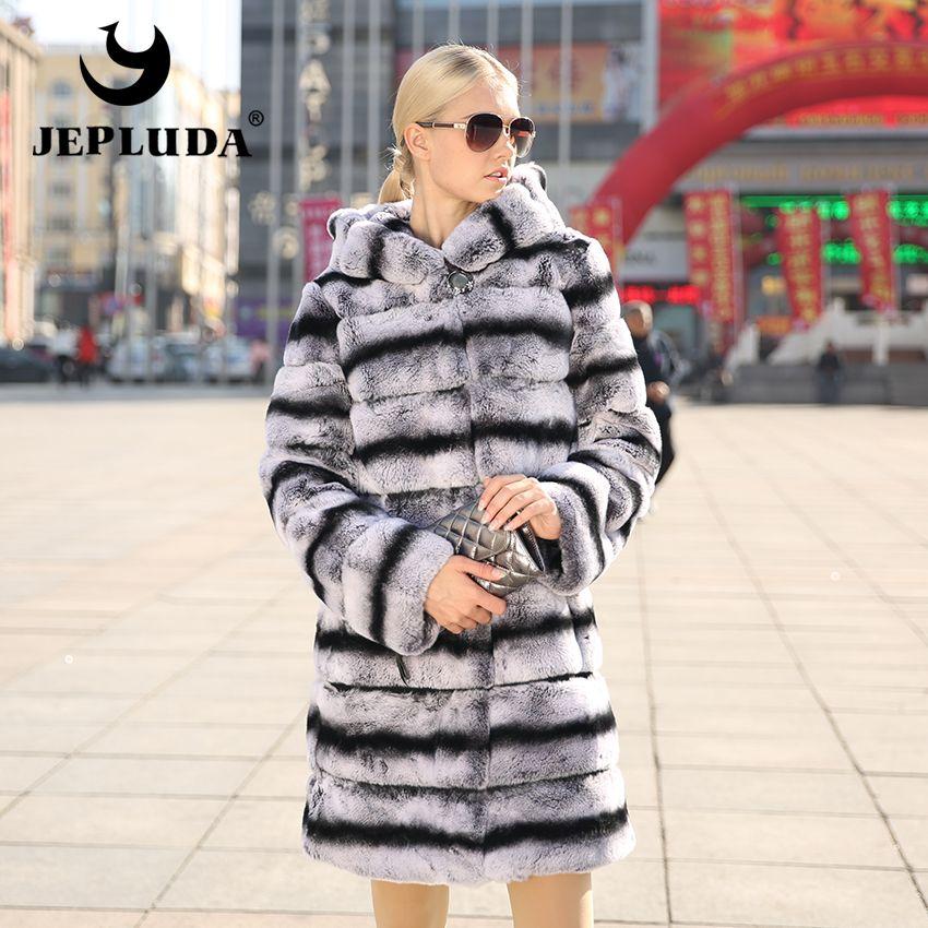 JEPLUDA New Women's Real Rex Rabbit Fur Coat Natural Fur Winter Jacket Women with hood Outerwear with Genuine Fur Real Fur coat