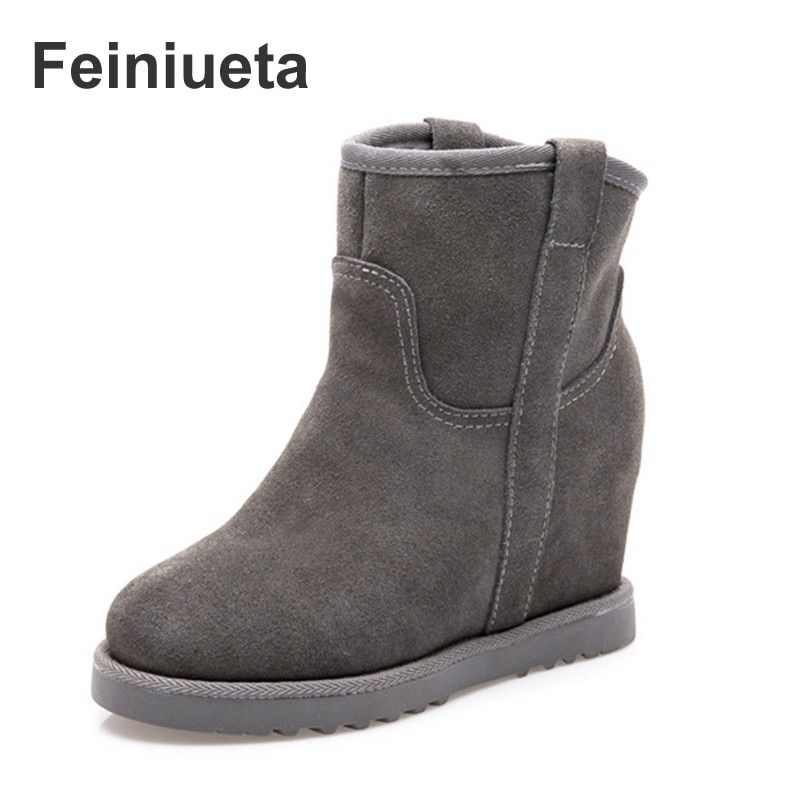 New short barrel matte leather factory wholesale winter warm slope with increasing snow boots women short boots women's shoes