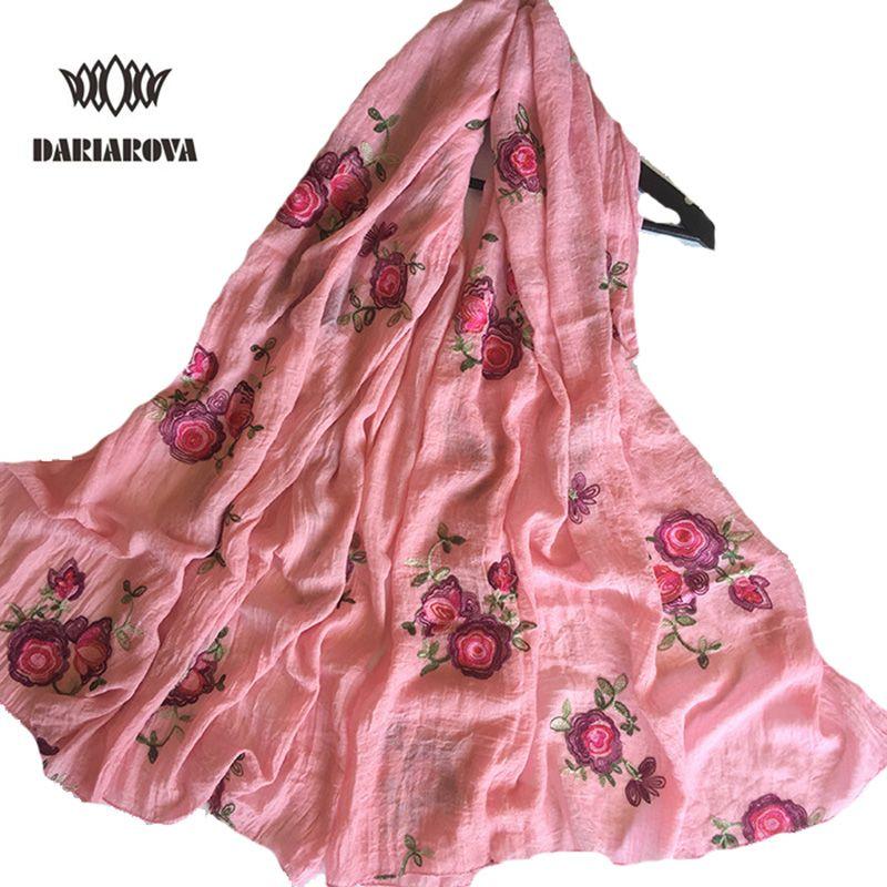 [Dariarova] 95*170 большой Размеры хлопковый шарф вышитые для Для женщин Демисезонный теплые цветочный Вышивка вискоза шарфы, шали обёрточная бума...