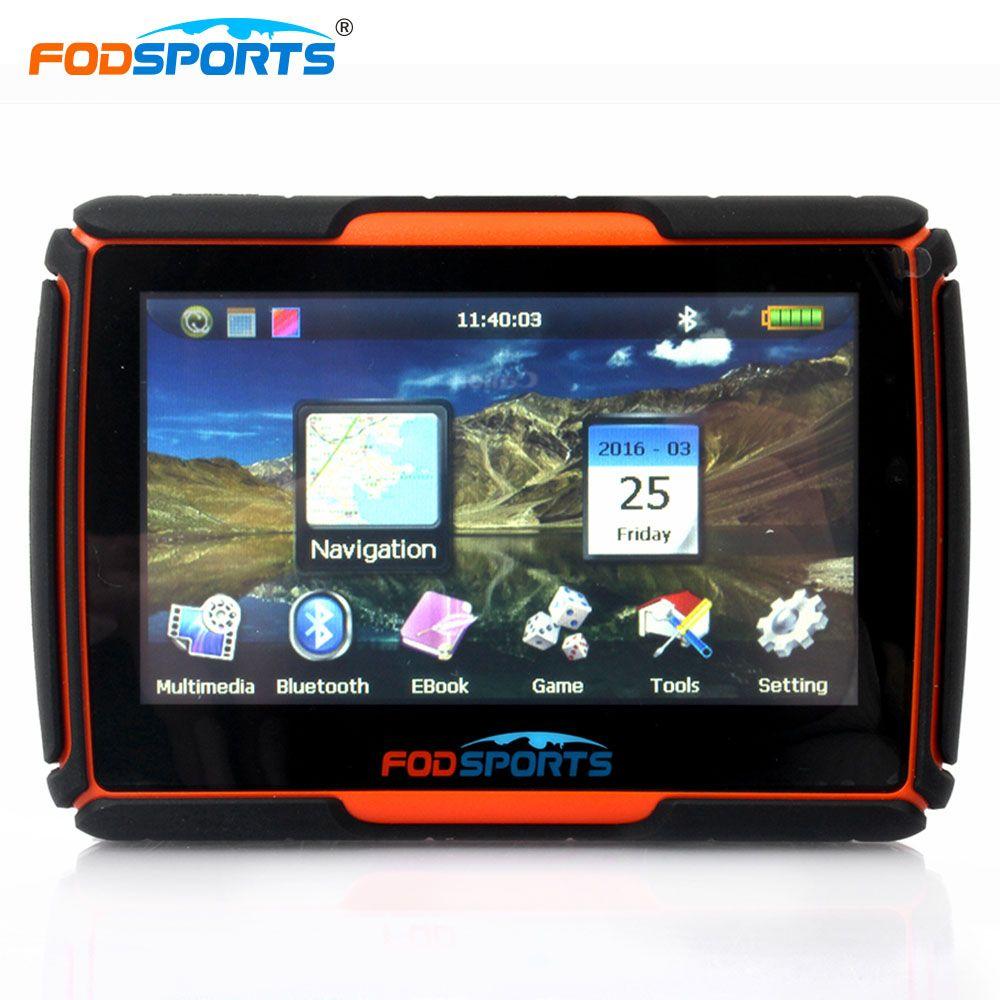 Fodsports 4.3 дюймов мотоцикл навигации Bluetooth мотоцикл GPS навигатор водонепроницаемый 256 МБ 8 ГБ IPX7 бесплатно установить карты