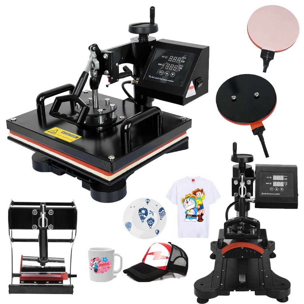 Professional 5 in 1 Heat Press Transfer Machine Swing Away Sublimation Presse for T-Shirt Mug Cap Plate