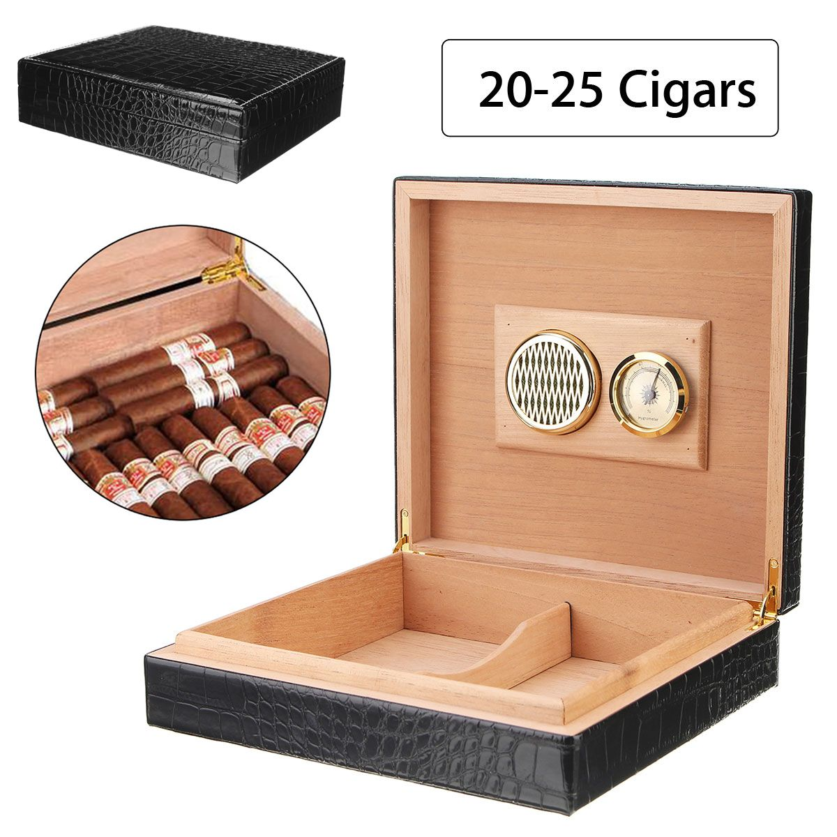 YKPuii Black Cedar Wood Cigar Case 20 - 25 Cigars Storage Case Box with Hygrometer Humidifier Smoking Accessories