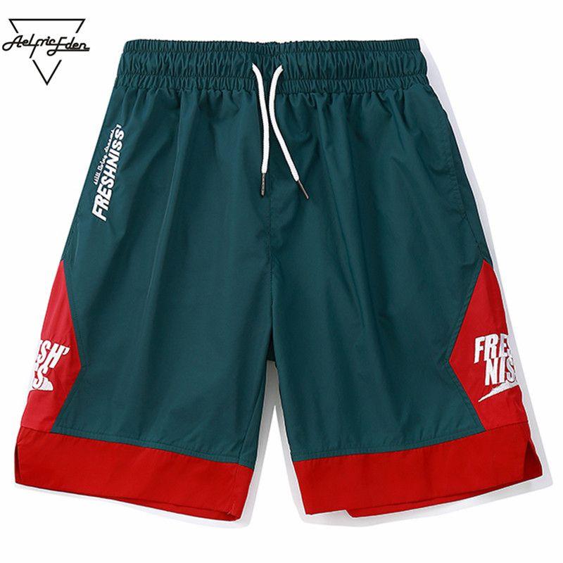Aelfric Eden 2018 Men Sportswear Shorts Side Patchwork Contrast Color Letter Printing Streetwear Vintage Short Sweatpants Fs507