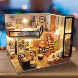 Perabotan Baru Diy Rumah Boneka Wodden Miniatur Rumah Boneka Furniture Kit Debu Cover Puzzle DIY Merakit Rumah Boneka Mainan untuk Hadiah