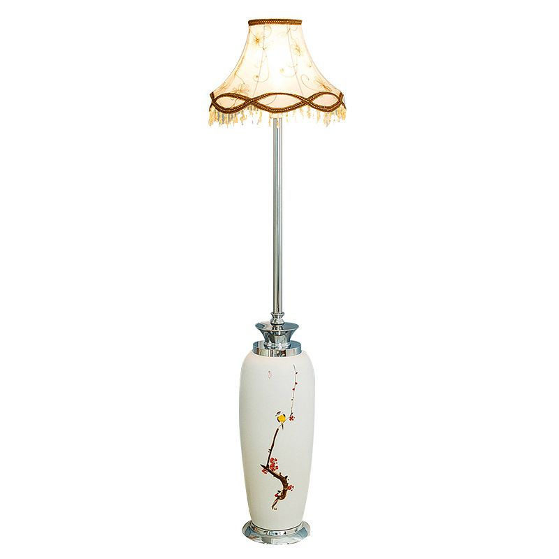 Modern Chinese style ceramic Coloured drawing floor lamps for restaurant foyer hotel hall decoration classical standing lamp