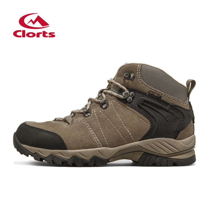 Clorts Waterproof Hiking Shoes For MenProfessional Trekking Boots Suede Leather Outdoor Climbing Mountain Shoes Camping Sneakers