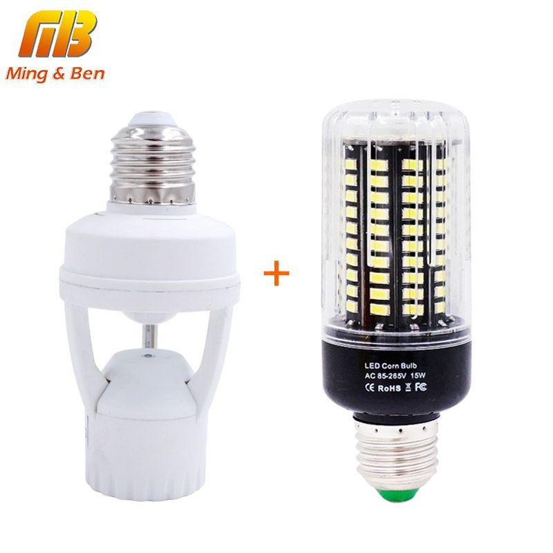 [Mingben] DIY ПИР Индукционная инфракрасный движения Сенсор светодиодные лампы База держатель + 7 Вт 9 Вт 12 Вт 15 Вт SMD 5736 E27 светодиоды лампы для ночн...