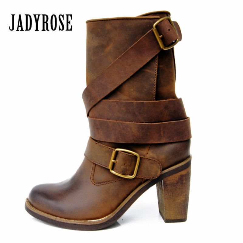 Jady Rose Vintage Brown Women Genuine Leather Mid-Calf Boot Chunky High Heel Platform Boots Straps Buckle Decor Martin Botas
