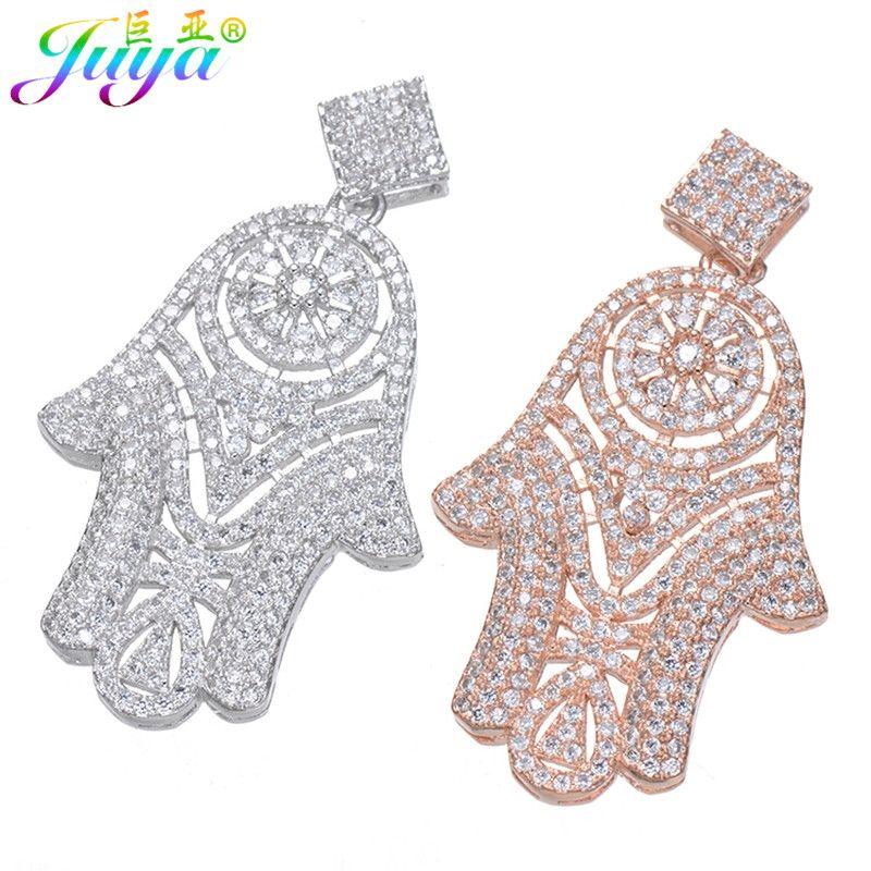 Micro Pave Zircon Or/Argent Hamsa Main De Fatima Pendentifs Pour Femmes Pierres Naturelles Perles Colliers Perles Fabrication de Bijoux