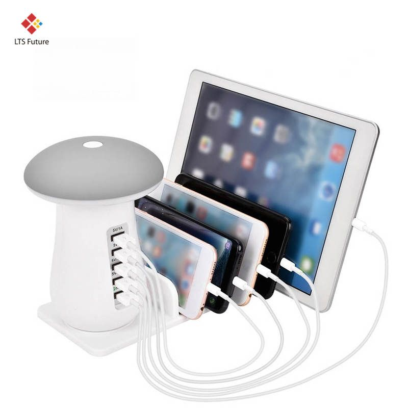 Multi 5 Port Charging Dock Tablet QC 3.0 Quick Charge Desktop Station Lamp Multiple Usb Fast Phone Charger EU US UK AU Plug Gift