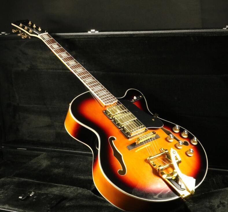 Stock Full Hollow Body L5 Electric Guitar 3pcs Humbuckers Pickups Gold Hardware Bigsby Bridge Grover Sunburst