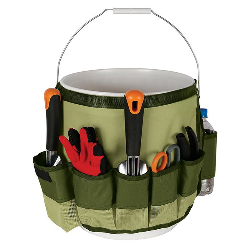 1Piece Garden Tool Bag Oxford Fabric Garden Bucket Bag for Gardening Tool Kit Tools Excluded