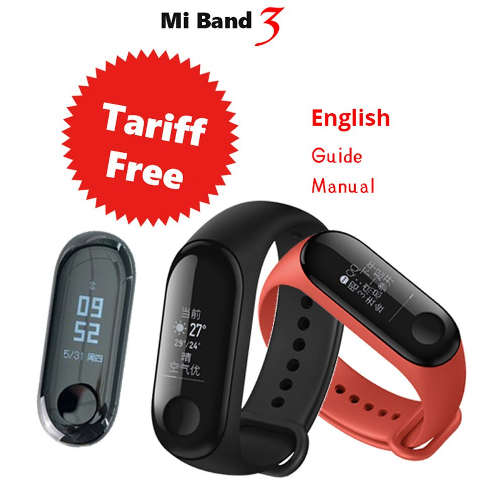 For Xiaomi Mi Band 3 OLED Smart Wristband Screen Message Heart Rate Time Fitness Bracelet MiBand Band 3 Big Touch