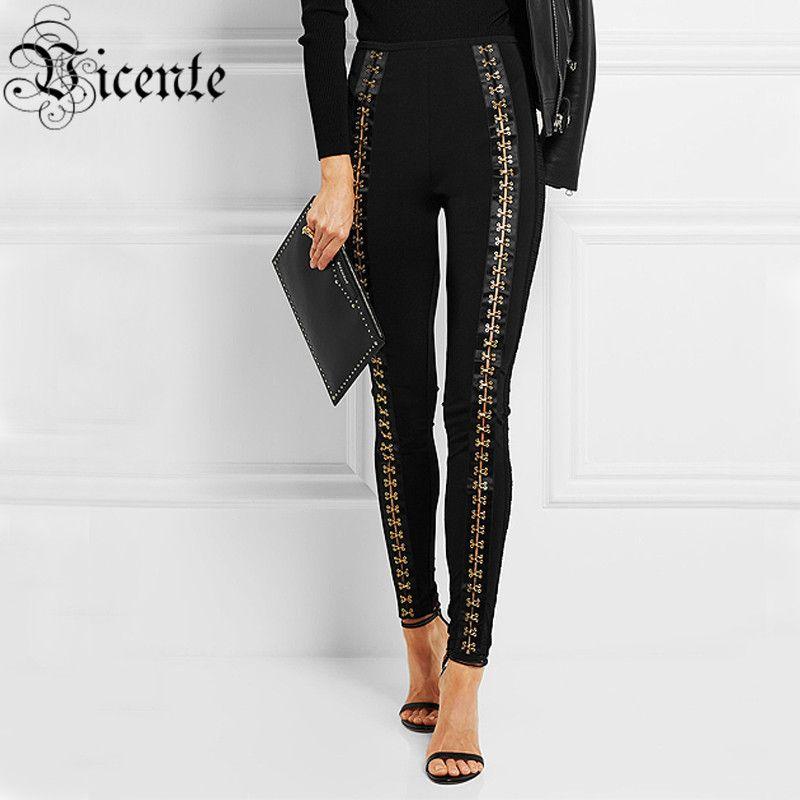 Free Shipping! 2018 New Fashion Inspired Luxe Hook Details Embellished Wholesale Women Bandage Pants Leggings