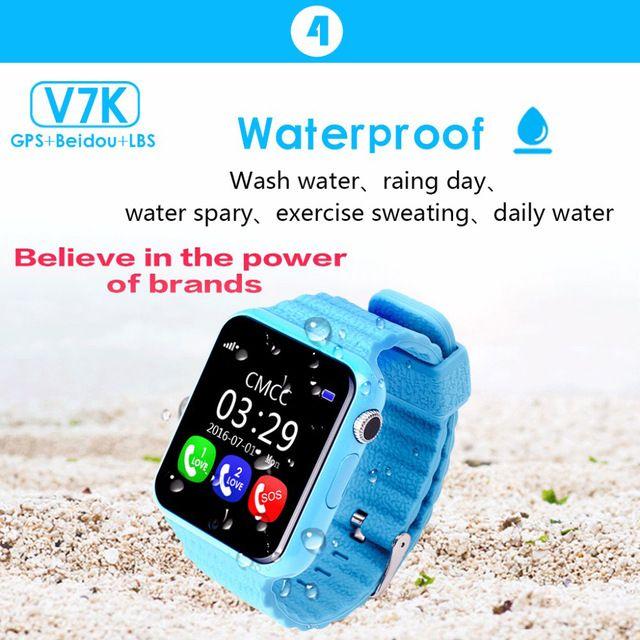 GPS de seguimiento de reloj para niños impermeable reloj inteligente cámara V7K facebook Llamada SOS Ubicación Rastreador Devicer Anti-perdida Monitor