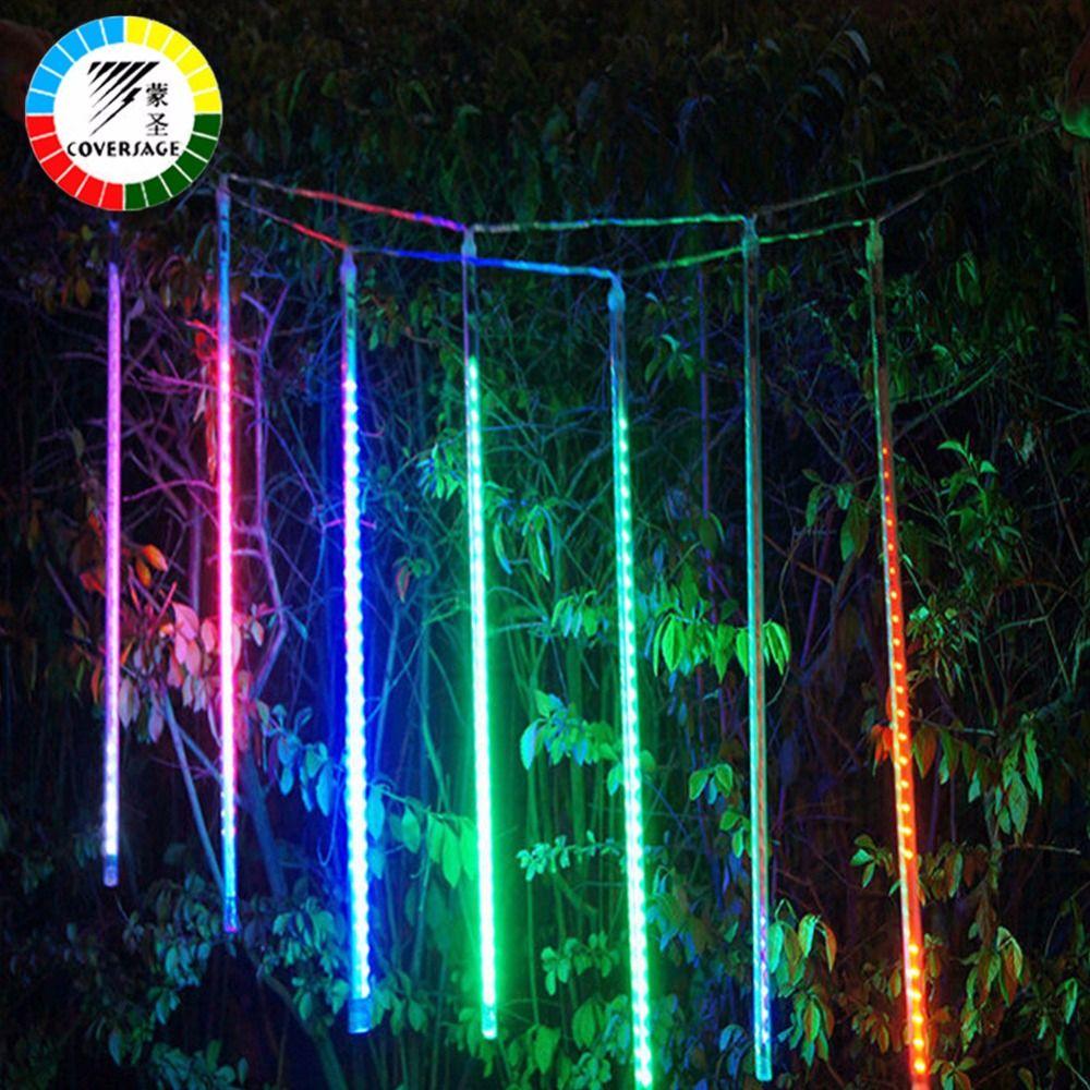 Coversage 50 см метеорный поток труб Рождество дерева огни напольный Строка Гирлянда сад guirlande lumineuse Luces Navidad