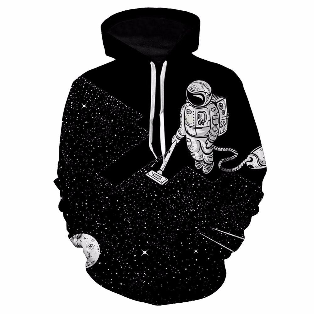 Pullover Sweatshirt Astronaut Clean 3D Print Space Galaxy Skateboarding Hoodies Unisex Plus Size Sport Hooded Top Baseball Coat