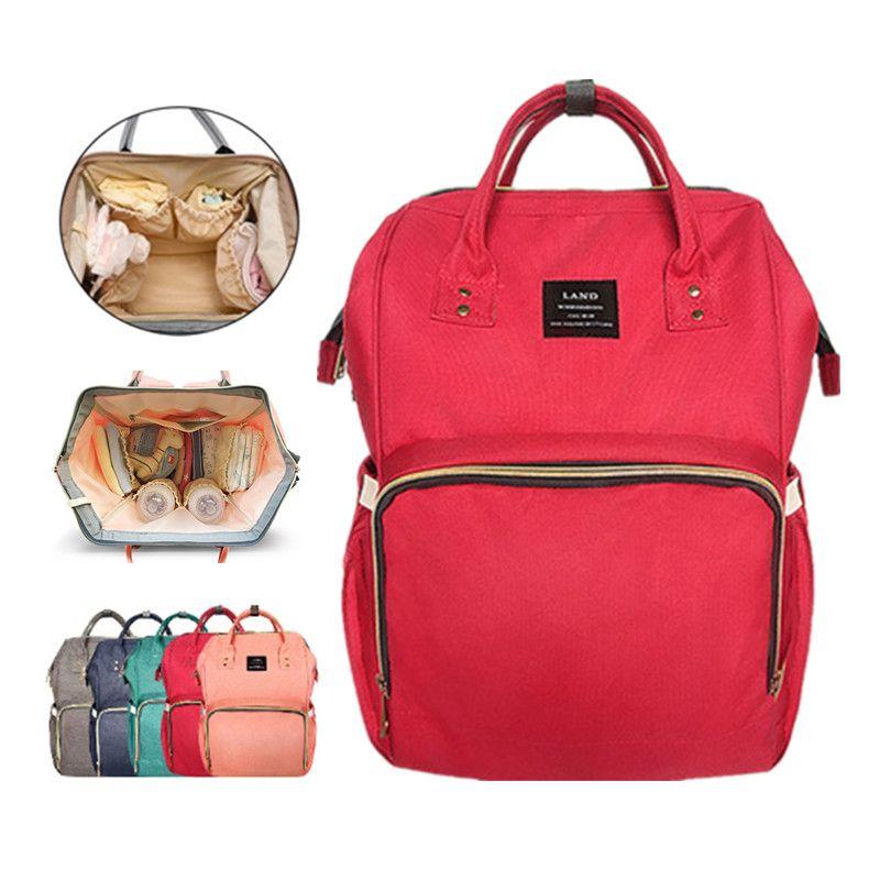 LAND Mommy Diaper Bag Large Capacity Baby Nappy Bags Desiger Nursing Bag Fashion Travel Backpack Baby Care Bebek Bag For Mom Dad