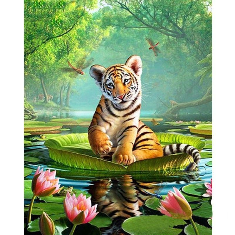 3d diy diamond painting Animal tiger cross stitch Full square Rhinestone diamond Mosaic embroidery Flowers European home decor