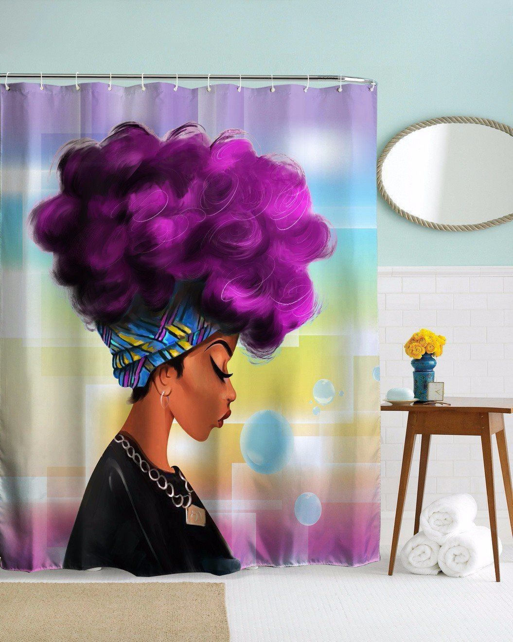 Афро душ Шторы Африканская женщина с сиреневыми волосами акварельный портрет Аватар для печати Водонепроницаемый плесени устойчивы