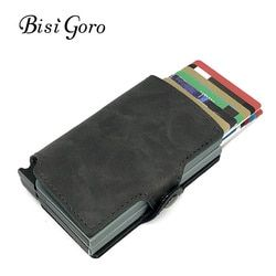 BISI GORO 2018 Men And Women 2 Metal Credit Card Holder Aluminium RFID Blocking PU Wallet Hasp Mini Vintage Wallet Hold 14 Cards