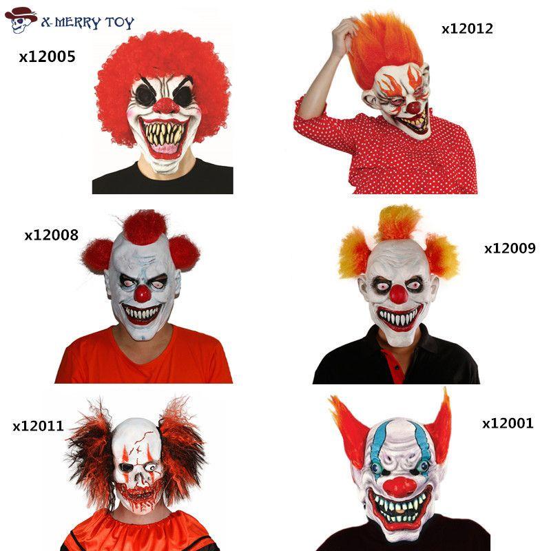 X-Веселая игрушка бесплатная доставка Джокер клоун костюм Маска Жуткий зло страшно Хэллоуин маска клоуна