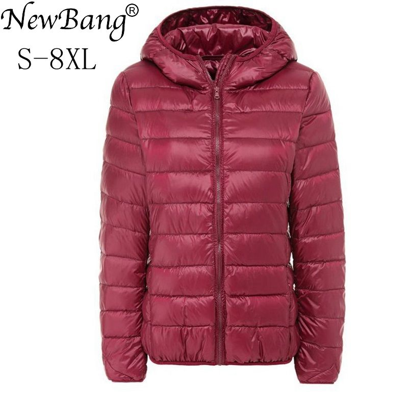 NewBang Brand Large Size 6XL 7XL 8XL Women's Down Coat Plus Ultra Light Down Jacket Women Autumn Winter Hooded Feather Jacket