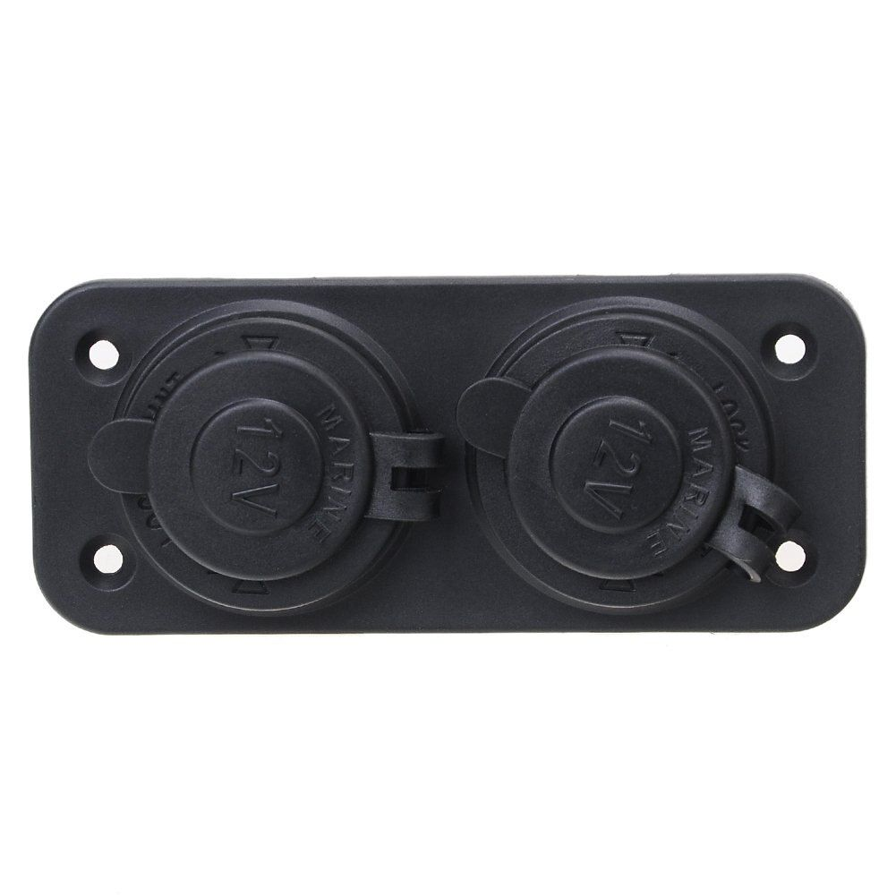 Black Dual 2 Socket Splitter Car Cigarette Lighter Charger Adapter 12V