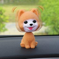 Car Ornament PVC Cute Shaking Head Dog Automobiles Interior Dashboard Swing Nodding Puppy Doll Decoration Ornaments Toys Gift