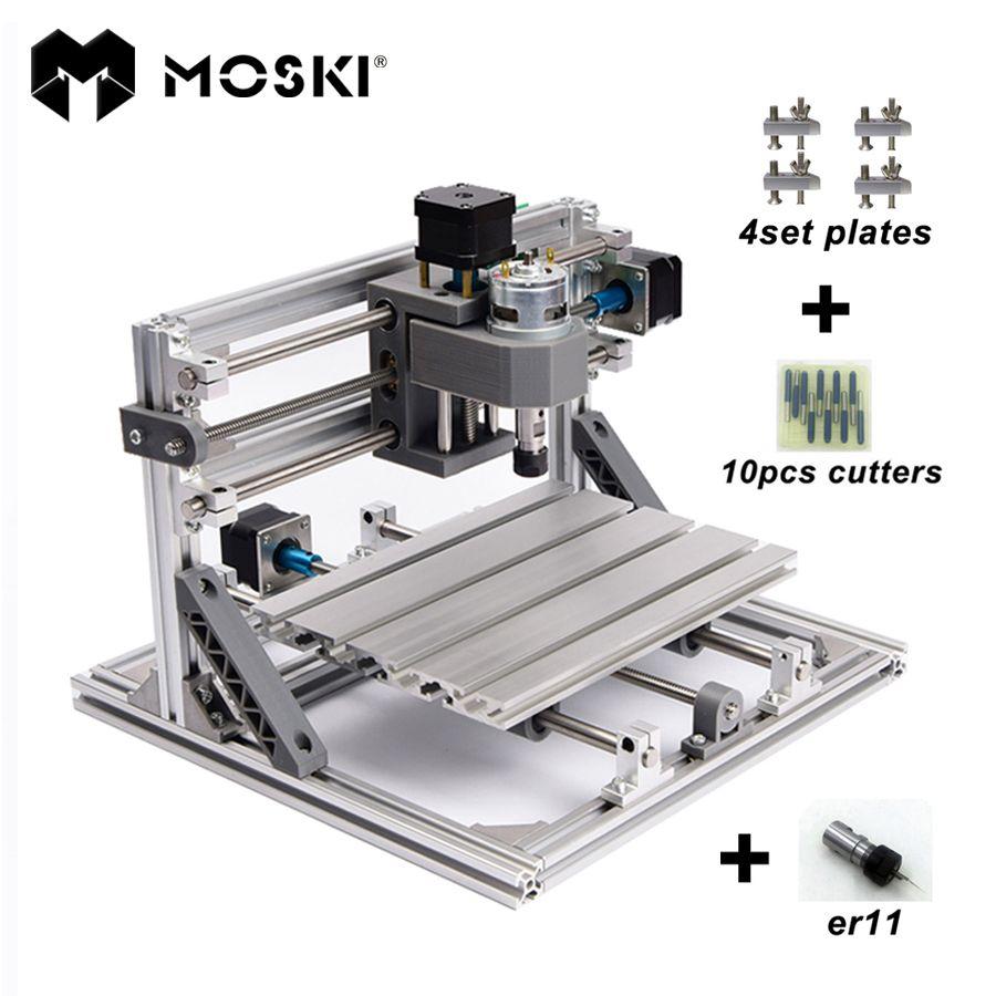 MOSKI, CNC 2418 avec ER11, mini cnc laser machine de gravure, Pcb Fraiseuse, Sculpture Sur Bois machine, cnc routeur, cnc2418, meilleurs cadeaux