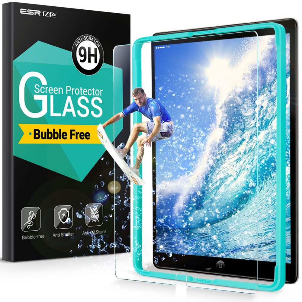 Screen Protector for iPad Pro 10.5,ESR 9H Tempered <font><b>Glass</b></font> Anti-Scratch Screen Protector with install kit for iPad Pro 10.5 inches