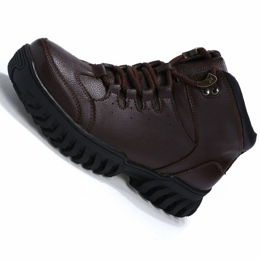 High Top Brand Genuine Leather Running Shoes Men Winter Warm Plush Travel Walking Training Shoes Men Winter Sneakers Snow Boots