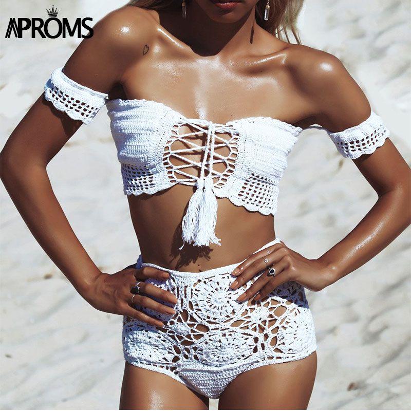 Aproms Épaule Tricoté Crochet Récolte hauts et shorts de Plage D'été Femmes 2 Pièces Ensemble Cool Filles à lacets Romer bikini beachwear